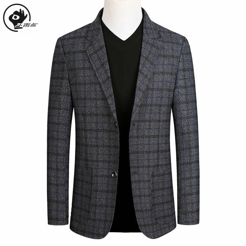 Little Raindrop Short Blazer Mens Brand  Korean Men Blazer Fashion Slim Suit Jacket Business Plaid Blazer Mens Walking Suits