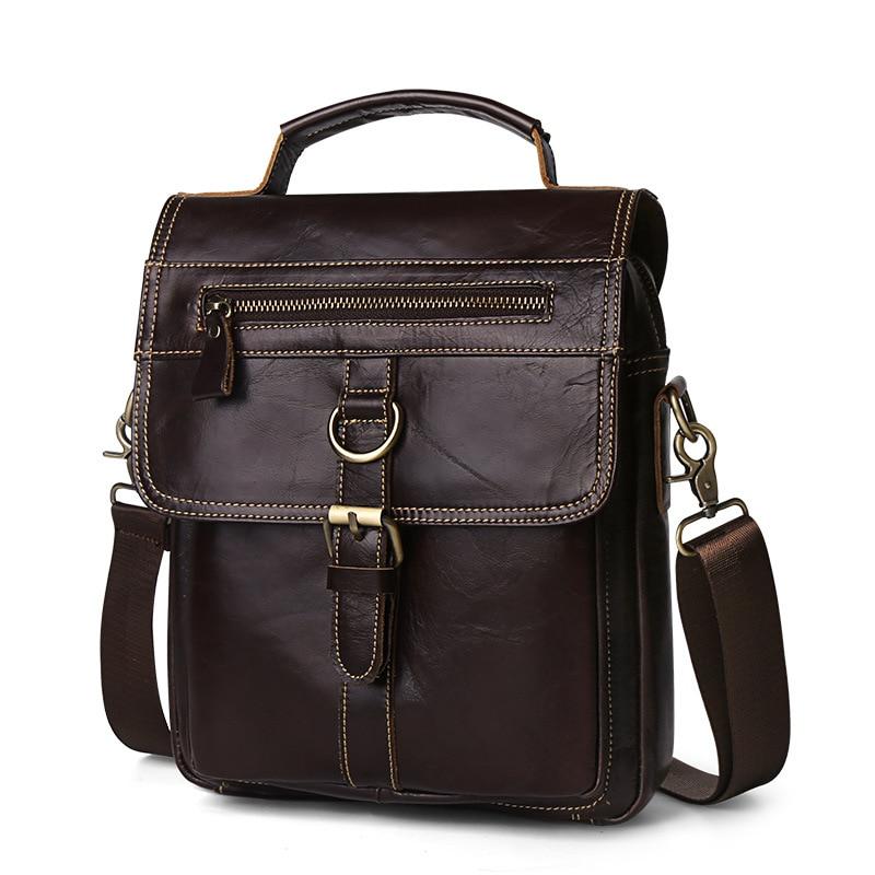 1PCS  Handbag Leather Shoulder Messenger Bag Men's Hand Carrying Baotou Leather Man Bag