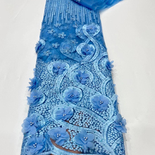 Lace-Fabric French 3d Flowers Beads Tulle Wedding Nigerian High-Quality African
