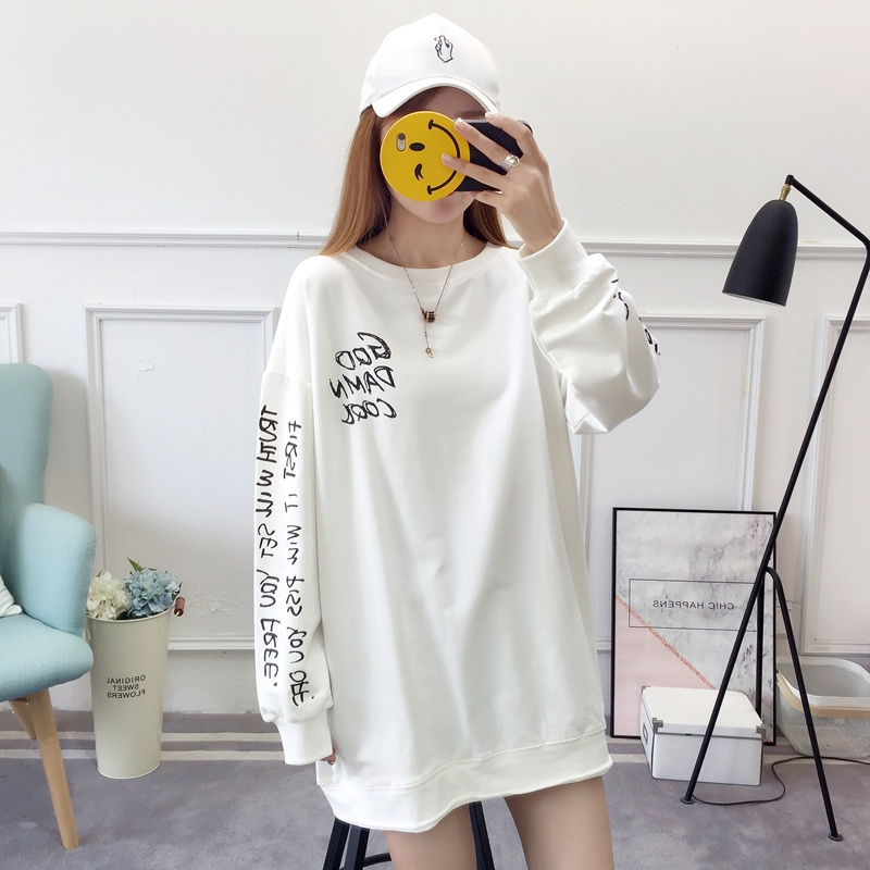 2019 autumn new Korean version of the XL T-shirt women's thin section long-sleeved loose hole wild T-shirt shirt women 78