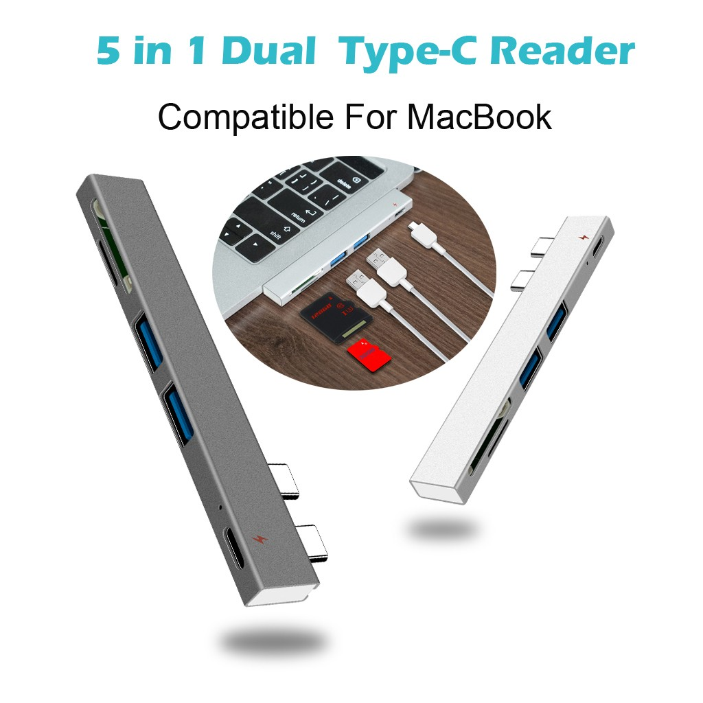 Computer Peripherals Usb C Hub Dual Type C Adapter Dock With Usb Pd Charger Sd/tf Slot For Pc Компьютерная Периферия #20