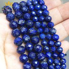 Perles Lapis lazuli à facettes naturelles, accessoires pour la fabrication de bijoux, boucles d'oreilles, 6mm/8mm, 7.5 pouces