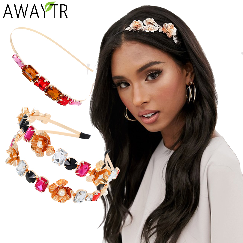 AWAYTR Baroque Jeweled Headband Hair Hoop Women Wedding Bride Flowers Crystal Hairband Rhinestone Bezel Elegant Hair Accessories