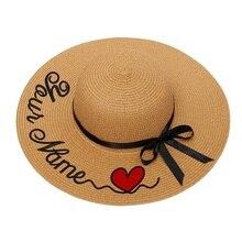 Изготовленный На Заказ шляпы женская летняя шляпа соломенная солнцезащитный головной убор для женской летней шляп Персонализированная вышивка текстовый логотип название соломенная шляпа пляжная шляпа женский зонт шапки