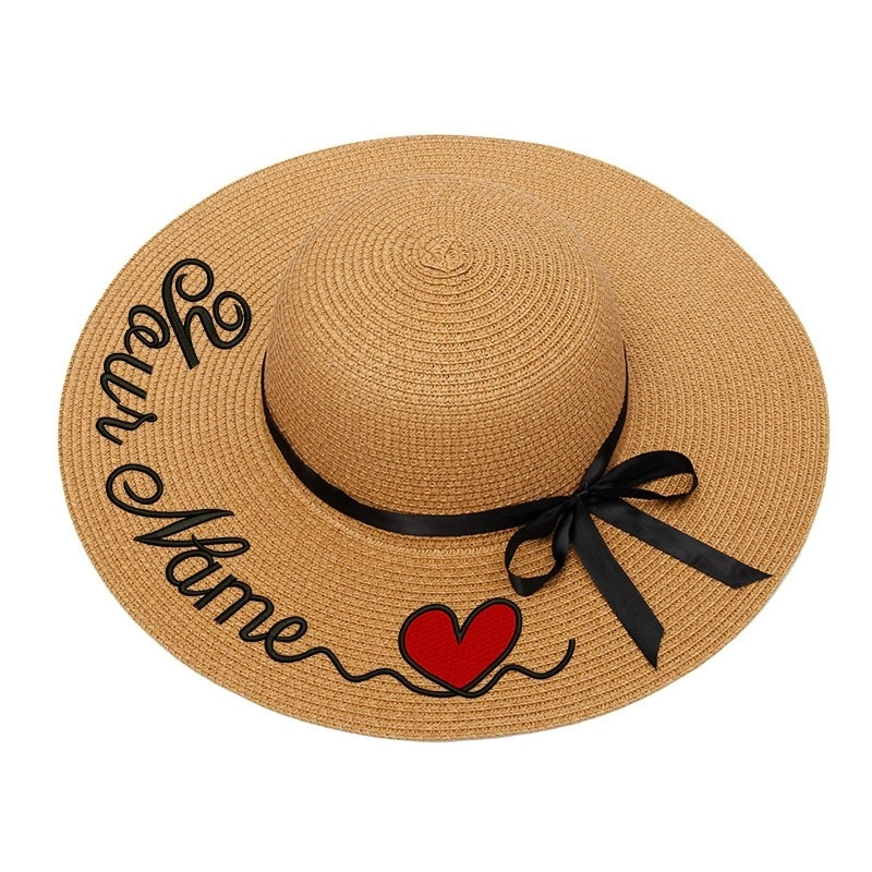 Custom Name Sun Hat For Women's Summer Hat Personalized Customize Embroidery Text Logo Straw Hat Beach Hat Female Sunshade Caps