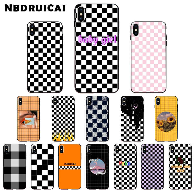 Nbdruicai Zwart-wit Schaakbord Tpu Zachte Siliconen Phone Case Cover Voor Iphone 11 Pro Xs Max 8 7 6 6S Plus X 5 5S Se Case