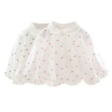 Autumn New Baby Girl Blouse 0-3T Heart-shaped Print Toddler Girls Sweet Cute Long-sleeved Cotton Blouses #m