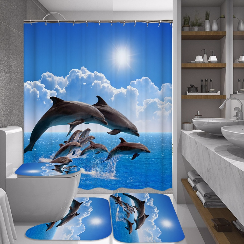 Ocean Design Dolphin 4 In 1 Waterproof Fabric Bathroom 3D Shower Curtain Set with Non Slip Toilet Cover Rugs Mat Home Decoration 1