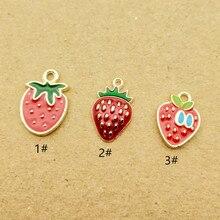 10pcs strawberry charm enamel charm for jewelry making fashion earring pendant necklace bracelet charm