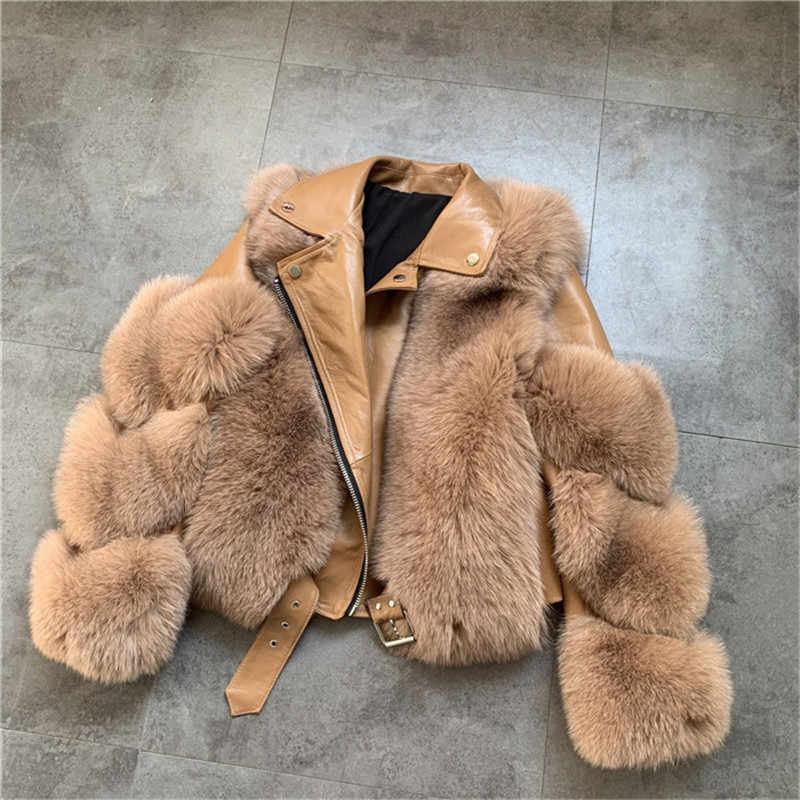 Frauen Warme Echt Fuchs Pelz Mantel Kurze Schlanke Winter Echte Pelz Jacke Schaffell Anzug Kragen Luxus Natürliche Fuchs Pelz Mantel