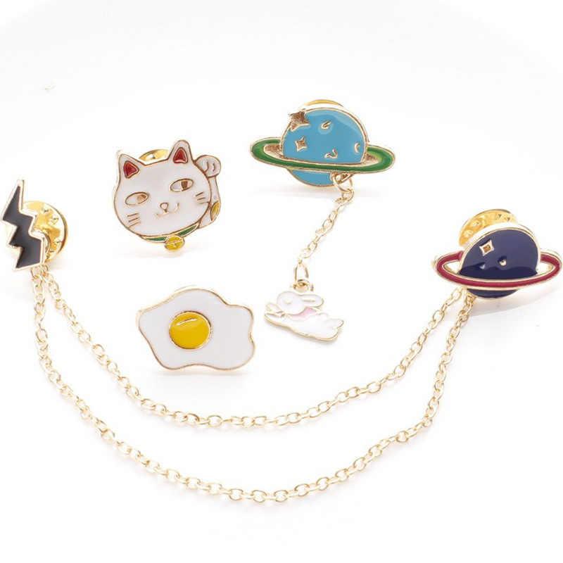 1pc かわいいタッセルバッジギャラクシー · 宇宙飛行士卵ウサギ猫動物ピンブローチのための女性の男性の魅力ピン