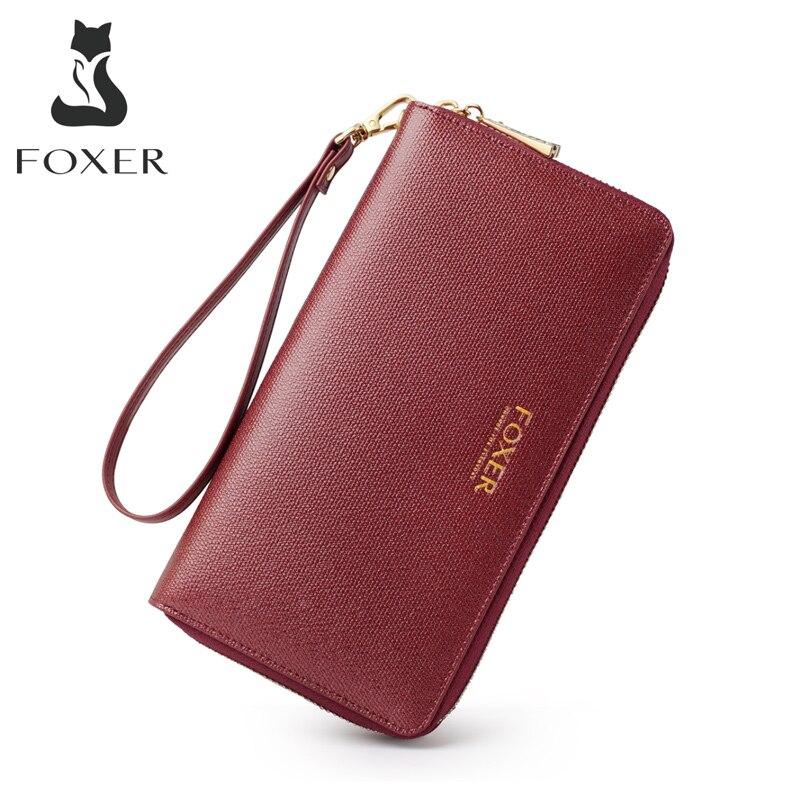 FOXER Ladies Money Purse Split Leather Large Capacity Card Slot Women Long Wallet Passport Holder Phone Clutch Bag For Ladies