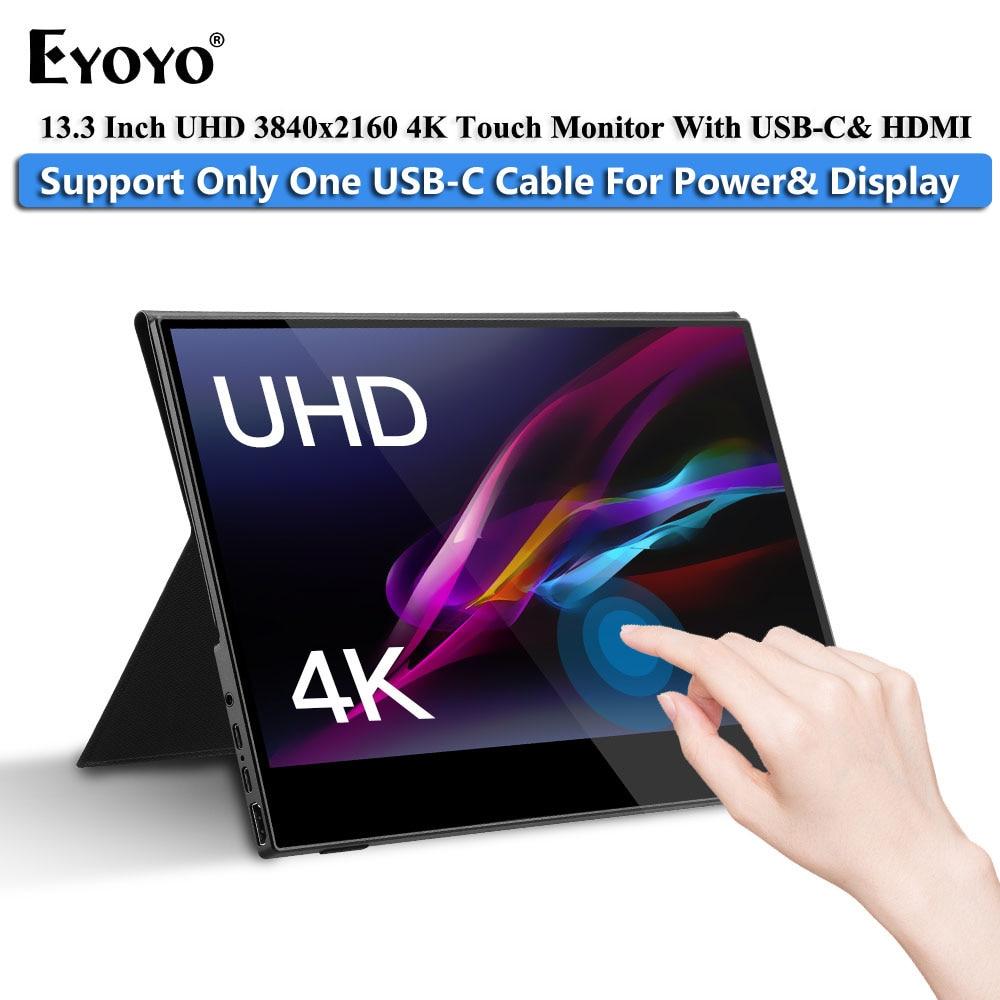 """Przenośny Monitor gamingowy Eyoyo 13.3 """"LCD 4K UHD typ C HDMI Touch IPS 1080p wyświetlacz na PS4 Laptop telefon Xbox przełącznik z etui"""