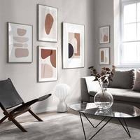 أحمر الخدود الوردي مجردة هندسية اسكندنافية صور فنية للجدران قماش لوحات الملصقات والمطبوعات لغرفة المعيشة ديكور المنزل