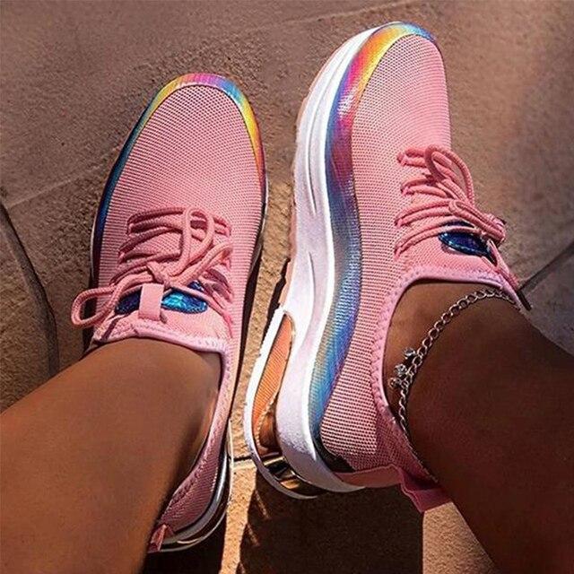 Zapatillas de deporte transpirables con cordones para mujer, zapato vulcanizado cómodo de talla grande para primavera y otoño, 2020 4