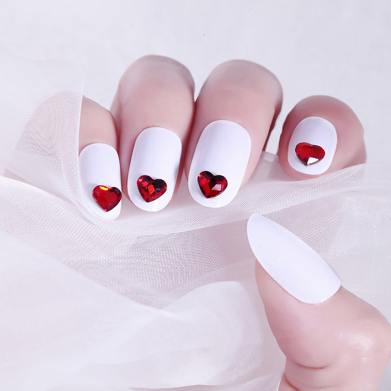 Round-Toe Fake Nails GIRL'S Online Celebrity Fresh Manicure Patch White Peach Heart 24 PCs Wear Manicure Stickers Nail Sticker 3