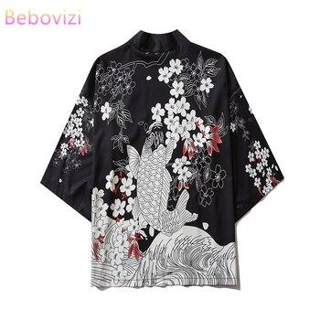 17 Style Carp Print Black Men and Women Cardigan Blouse Haori Obi Asian Clothes Samurai Kimono Harajuku Japanese Fashion