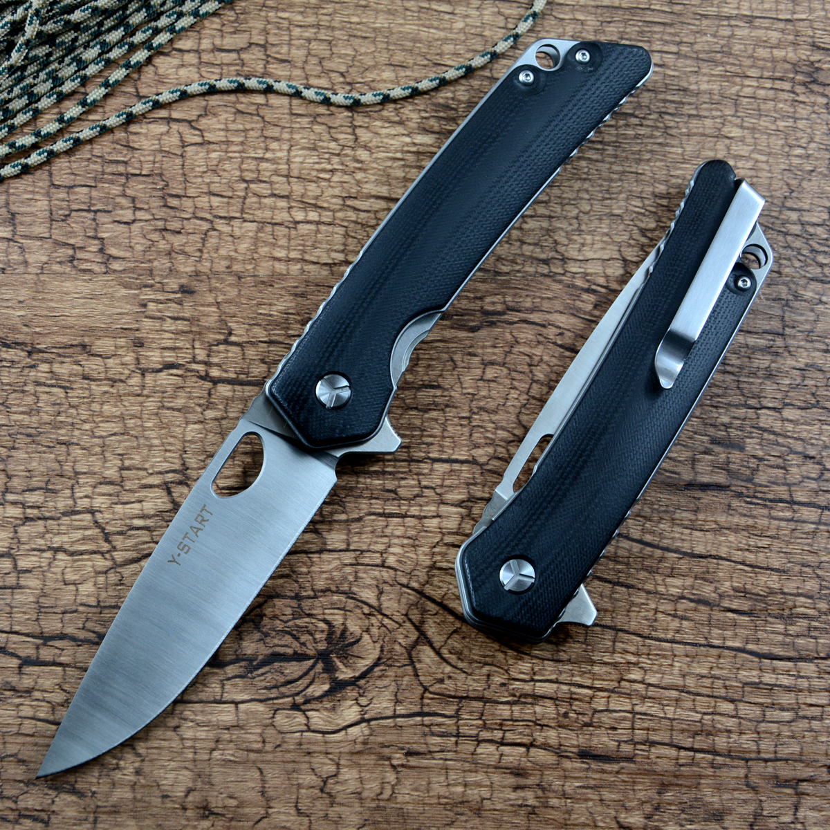 Y-START LK5016 Flipper Folding Knife Fast Open 440C Satin Blade G10 Handle Fruit Outdoor EDC Tools
