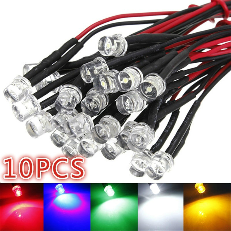 10Pcs 12V Pre Wired LED Bulb Light 5mm Pre Wired LED Lamp Diode DC12V F5 Emitting Diodes Smart light(5 Color)