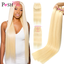 POSH BABE 4x4 Closure with 2 3 4 Bundle Weave 28 inch 613 Honey Blonde Colored Remy Brazilian Straight Hair Bundles with Closure