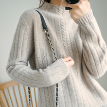 LITVRIYH NEW 100% wool knitted sweater women sweater and pullover long sleeve turtleneck