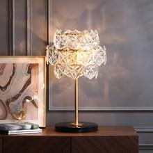Luces de mesa LED de lujo de cristal, iluminación de escritorio creativa posmoderna de mármol para dormitorio, decoración de diseño de cabecera, AC90V  260V