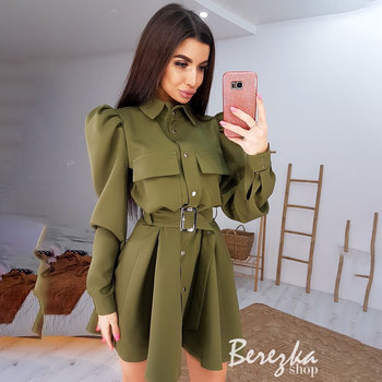 цена на Women Vintage Sashes Frony Button A-line Dress Long Sleeve Turn Down Collar Solid Elegant Casual Dress 2020 Summer Fashion Dress