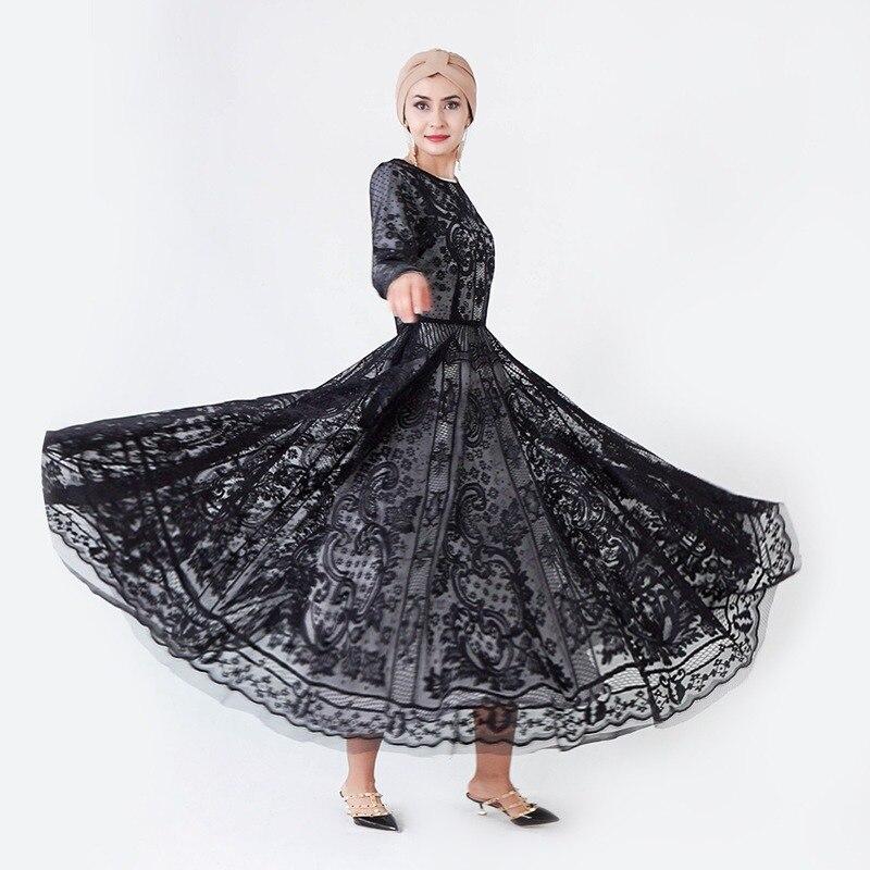 Dentelle broderie islamique évider robe turque femmes vêtements abayas pour femmes noir abaya saoudien robe musulmane dubaï robe