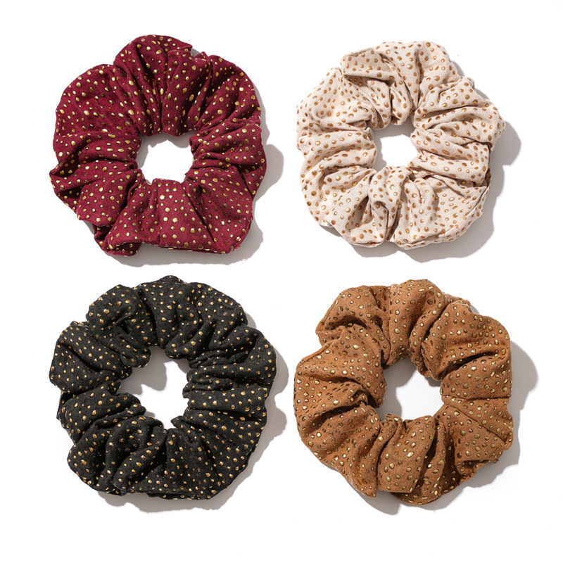 1PC Punk Style Gold Rivet Scrunchies Elastic Hair Bands 2019 New Women Girls Hair Accessories Ponytail Holder Hair Ties Rope