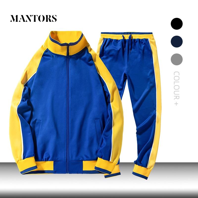 2019 New Trend Men Casual Sets Autumn Winter Men's Sportswear Zipper Tracksuit Jacket+Pants Two Piece Set Outwear Sporting Suit