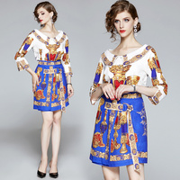 Runway Fashion Autumn Luxury Suit Women's Peter Pan Collar Printed Shirt Top And High Waist Lace up Mini Skirt Two Pieces Set
