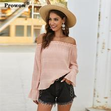 Prowow Off-shoulder Chiffon Blouse Women High Quality Long Sleeve Sexy Solid Color Ruffle Shirt Ladies Spring Summer Tops