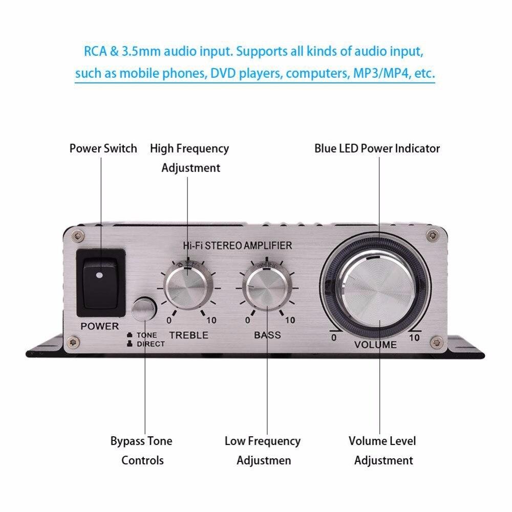 Amplificateur Audio Mini Audio HiFi 2.1 lp-838 Amplificateur Num/érique pour Voiture Basse St/ér/éo Noir Mini Amplificateur St/ér/éo de Voiture Audio pour Amplificateur pour Voiture et Maison