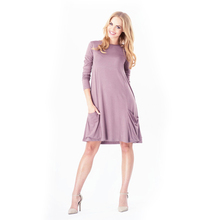 все цены на Newest Long Sleeve Boat Neck Maternity Gown Casual Loose Soft Maternity Dresses with Pockets Solid Plus Size Pregnant Dress онлайн