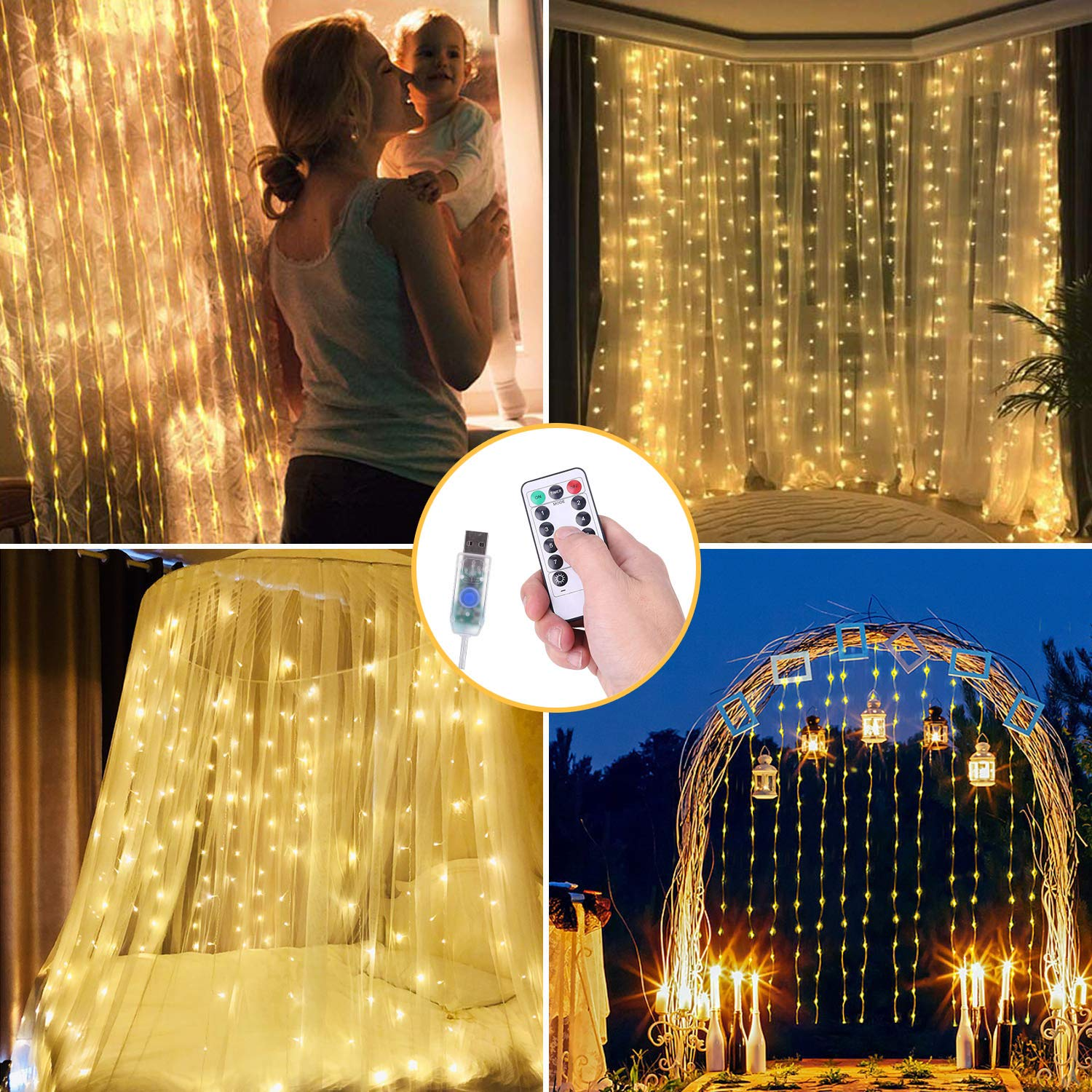 Curtain Lights 300 LED Curtain String Lights With Remote Control And Timer USB Powered For Christmas Wedding Window Indoor Decor