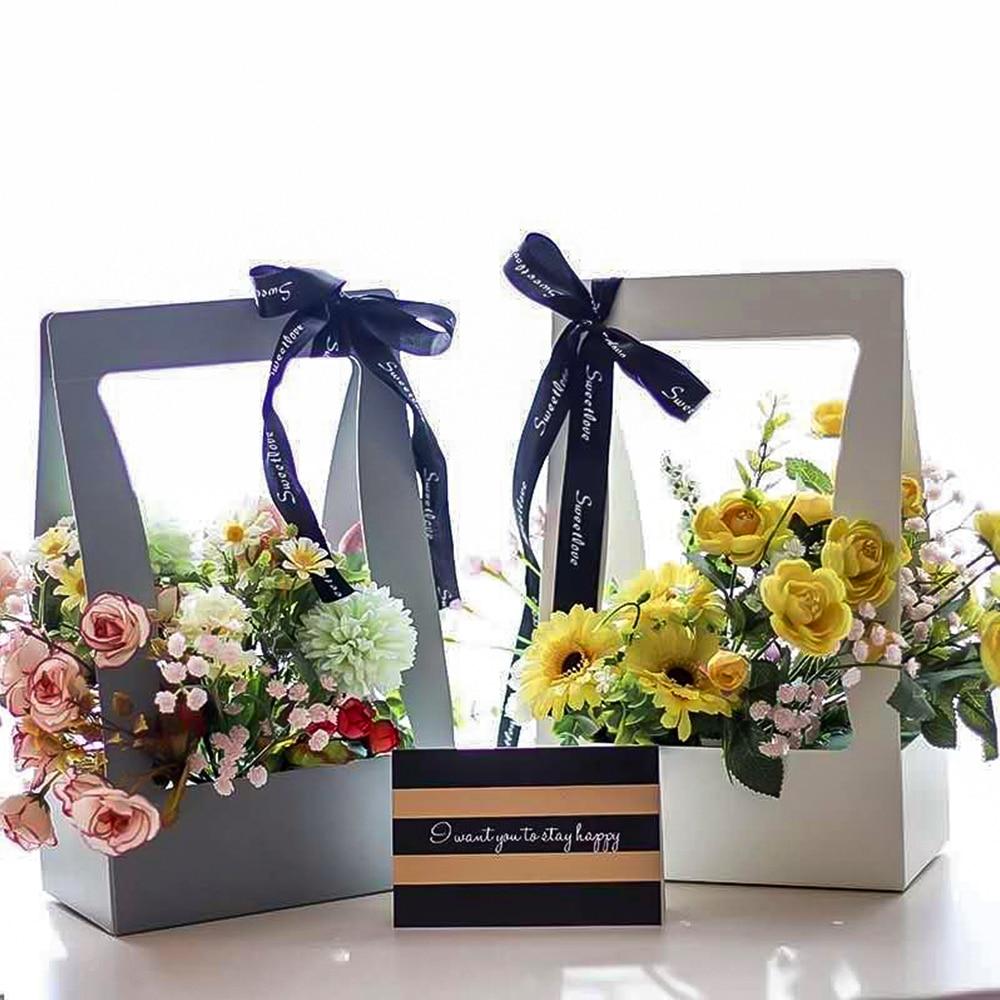 5Pcs High Quality Portable Foldable Flower Box Bag Paper Packaging Box Large Wedding Party Decor Florist Handy Flower Gift Case