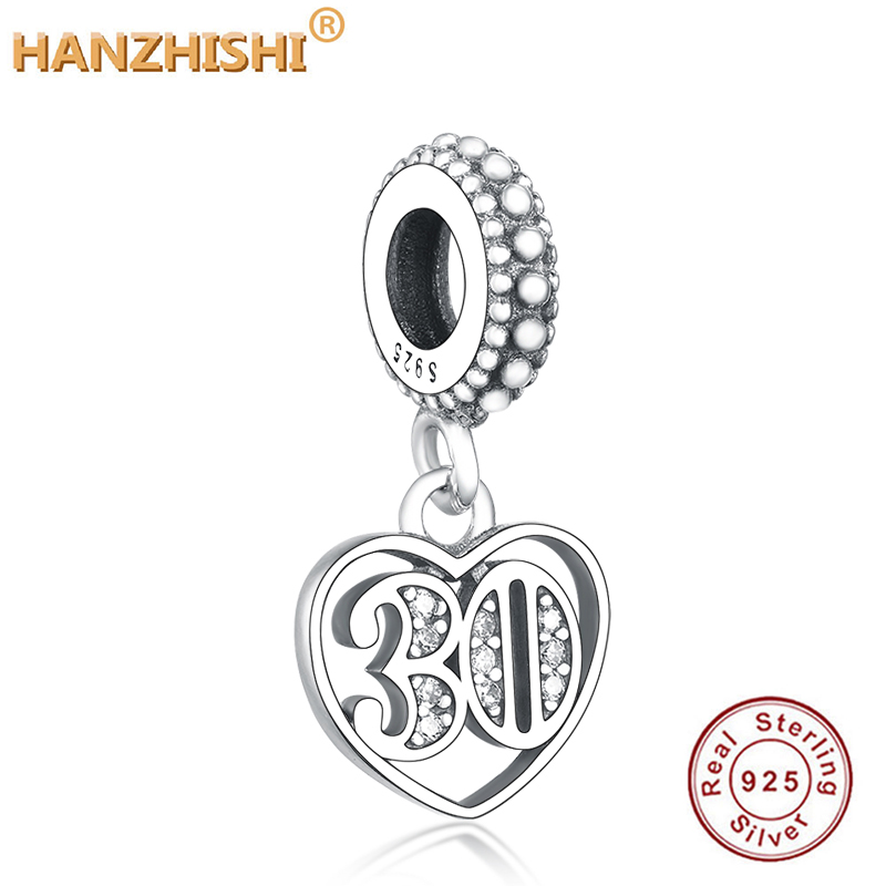 Foreve Romantic Love 925 Sterling Silver Heart With Number 30 Crystal Charm Pendant Fit Original Pandora Charm Bracelet Jewelry