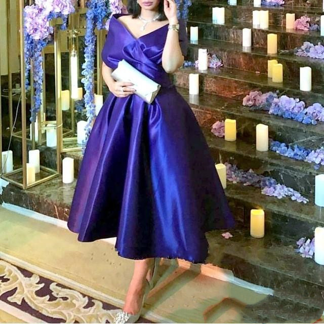 Royal Blue Tea Length Mother Of The Bride Dresses Plus Size Elegant Off Shoulder Satin Arabic Cheap  Prom Party Formal Gowns