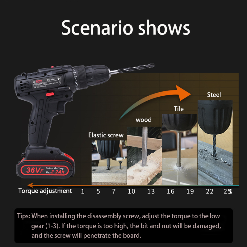 Image 5 - 36VF 1600rpm 50Nm 25 speed Torque Double Speed Cordless Electric Drill Screwdriver With LED lighting And drill bit-in Electric Drills from Tools on
