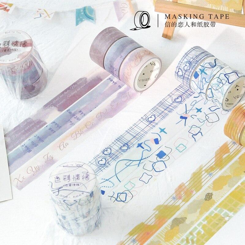 3pcs/pack Masking Tape Set Lemon Rain Washi Paper Decorative Tape Diy Label For Scrapbooking Album Craft Diary Planner