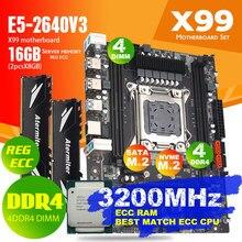Atermiter x99 d4 ddr4 conjunto de placa-mãe com xeon e5 2640 v3 LGA2011-3 cpu 2 pçs x 8gb = 16gb 3200mhz ddr4 reg memória ram ecc