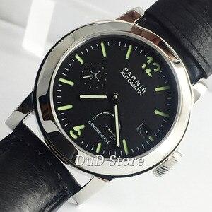 44MM PARNIS Top luksusowe opakowanie ze stali nierdzewnej czarna tarcza skórzany pasek SAPPHIRE rezerwa chodu automatyczny zegarek z datownikiem