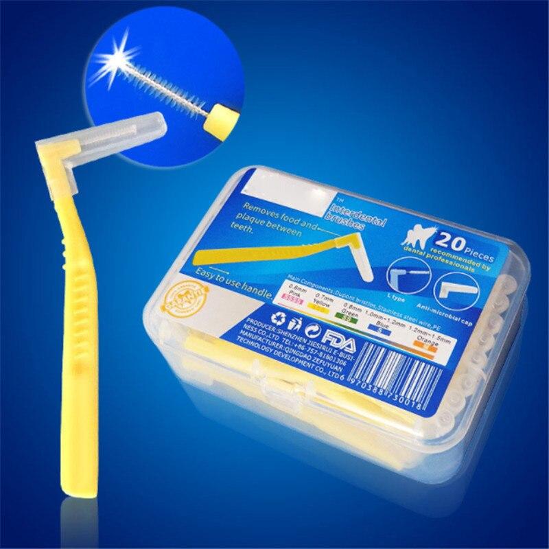 20Pcs/Box 0.6mm-1.5mm L Shape Push-Pull Interdental Brush Soft Dental Floss Toothbrush Orthodontic Wire Brush Oral Care Tool