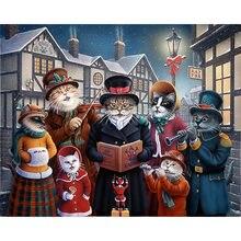 Diy картина по номерам котик Семья комплект маслом Рождество