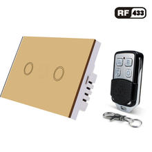 US/AU Standard 1/2/3 Gang RF433 Remote Control Wall Switch, Wireless Smart Light Switches, Glass Panel Touch Switch AC 110V-220V(China)