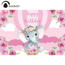 Allenjoy Girl Happy Birthday Elephant Backdrop Pink Flowers Hot Air Balloon Cloud Sky Vinyl Party Banners Baby Shower Supplies