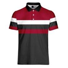 WAMNI/брендовая быстросохнущая деловая 3D рубашка поло, Спортивная свободная Harajuku в красную и белую полоску, Повседневная Уличная футболка для бадминтона