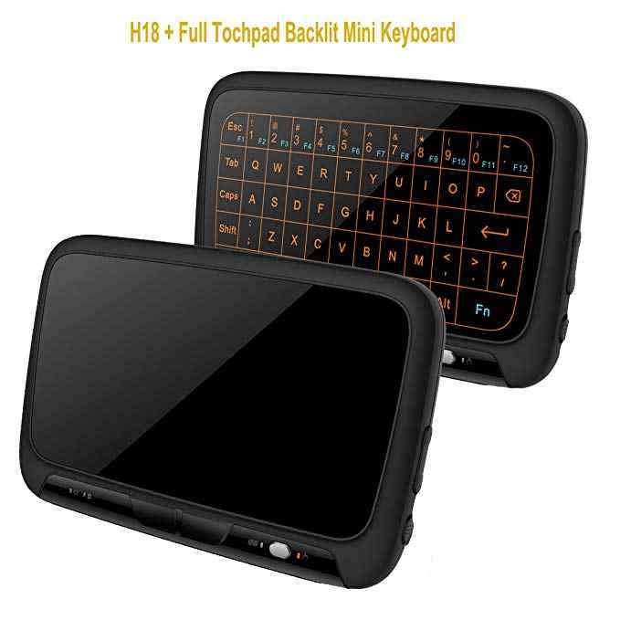 2.4G H18/H18 + Backlit Mini Keyboard Nirkabel Layar Penuh Touchpad Udara Mouse Rechargeable Remote Control untuk PC android TV Box
