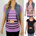 Футболка для беременных симпатичная полосатая футболка с коротким рукавом с забавным принтом для малышей Топы для беременных блузка с круг...