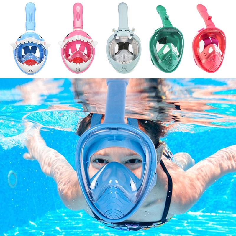 Scuba Diving Mask For Kids Full Face Anti-Leak HD Anti Fog Training Swimming Masks Safe Underwater Snorkel Mask For Children